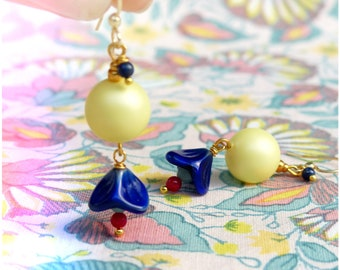 Boho / bohemian romantic dangle earrings - Pale yellow Swarovski pearls and cobalt blue flowers - Amazonite lapis lazuli red coral - OOAK