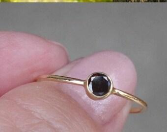 0.20 Carat Dark Brown Diamond Bezel Set Alternative Engagement or Stacking Ring in 14K Yellow Gold
