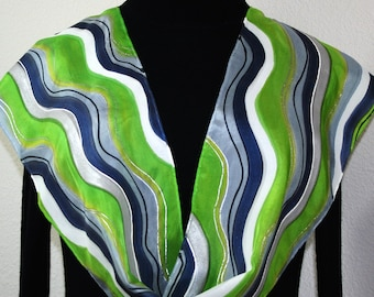 Lime, Grey, Black Silk Scarf Hand Painted LIME MOJITO, in 3 SIZES. Birthday Gift, Bridesmaid Gift, Anniversary Gift