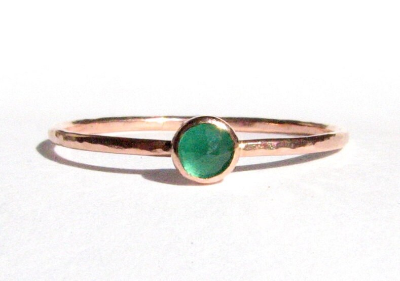 SALE Emerald & Solid Rose Gold Ring Thin Gold Ring