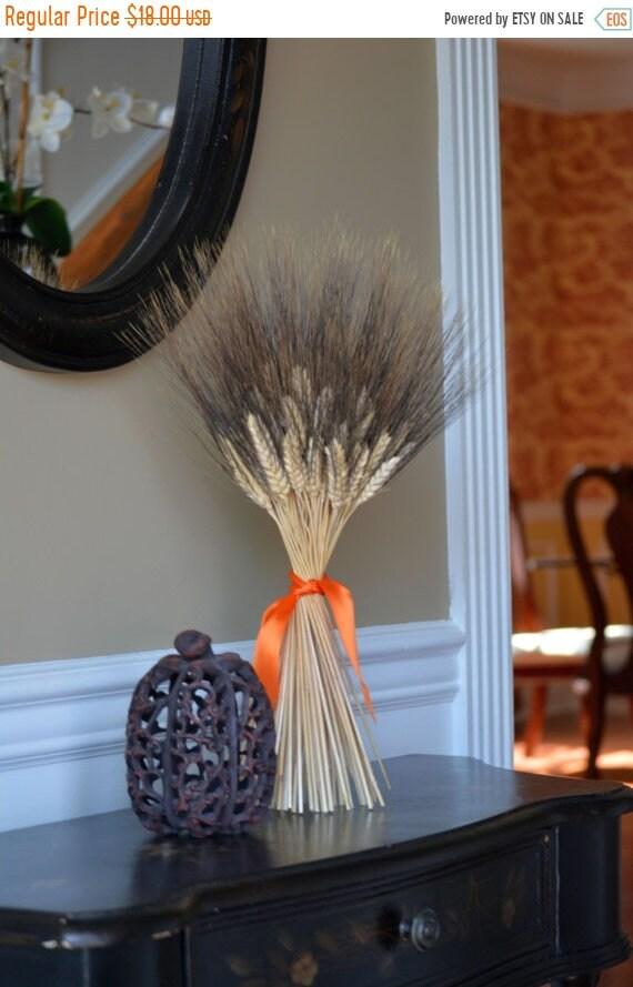 SUMMER WREATH SALE Halloween Decoration- Halloween Decor- Wheat Sheaf Fall Decor- Halloween Colors, Dried Floral Decor, Table Centerpiece, D