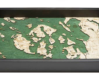 San Juan Islands, WA Wooden Topographical Serving Tray
