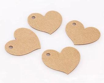 Heart Tags - Eco Brown Kraft Tags