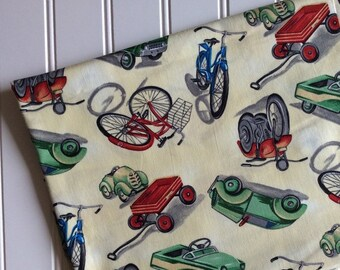Michael-Miller-Fabric-By-The-Yard-On-The-Move-Kids-Vintage-Bikes-Cars-Red-Wagons-Cotton-Quilt-Fat-Quarter-Sew-DIY-Projects-Crafts-Supplies