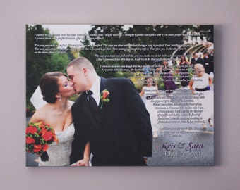 Wedding Canvas Vows Anniversary Gift Wedding Vow Art Wedding Gift Anniversary Gift