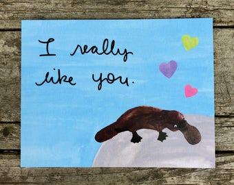 Valentine Platypus Postcard