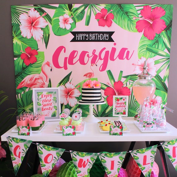 Flamingo backdrop design for birthday party tropical style for Decoration jardin tropical