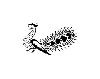 CLEARANCE Mehndi peacock rubber stamp