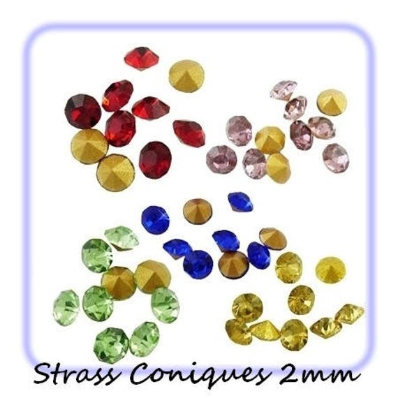 Swarovski rhinestones, diamond, multicolored Rhinestones, rhinestones 2 mm Rhinestones, rhinestone bottom tapered, paste Rhinestones, rhinestone crimp findings Dollydoo