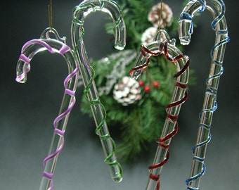Blown Glass Candy Cane Ornament