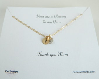 Initial Charm Necklace, Initial Disc Necklace, Personalized Initial Necklace, Gift for Mom, Tiny Charm Necklace, Small Disc Initial Necklace