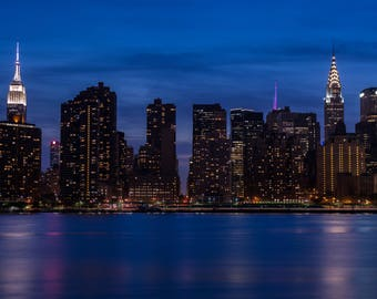 Manhattan, picture of New York in the evening, Empire State Building, photo of Midtown Manhattan, Chrysler Building