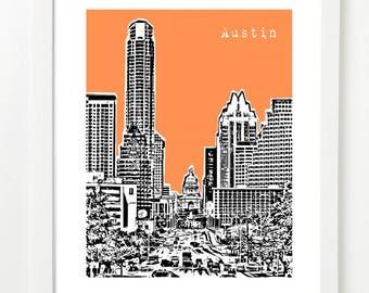 Austin Skyline Print - Austin City Art - Austin Texas Poster - City Skyline Series - VERSION 1