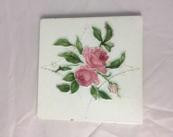 Antique English Majolica Pottery Tile Cabbage Rose Art Nouveau England Vintage Home Decor Art