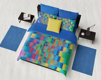 Colorful Duvet Cover or comforter - geometric graphic bold blue red, gold, green design, bedroom linens, masculine modern decor