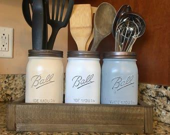 Mason jar utensil holder, Kitchen Utensil jar, soap dispenser, mason jar kitchen storage, mason jar canister set, utensil holder, shakers