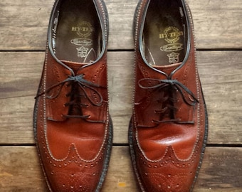 1980's Hy-Test long wing tip, Derby style brogues - Men's size 9 1/2E - brown