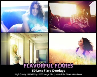 50 Photoshop Actions Overlays - Lens Flare Solar Flare - Flavorful Flares