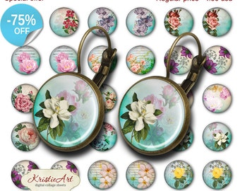 75% OFF SALE Flower Paradise - 18mm, 16mm, 14mm, 12mm, 10mm Circles Digital Collage Sheets E-019 Printable Earring, Rings, Jewelry