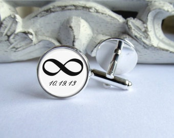 Cufflinks, Infinity Cufflinks, Customized Mens Cufflinks, Wedding Cufflinks