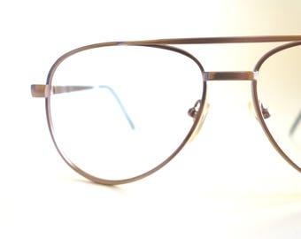 Copper Aviator Frames Mens 1980s Aviators Double Bridge Hipster Glasses Oversized Antique Bronze Metallic 80s Classic Sunglasses Deadstock