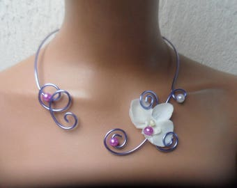 Floral necklace for bride - mauve purple and white with Orchid