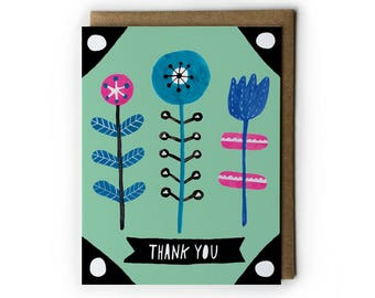 Flower Thank You Card, Thank You Card, Folk Floral Card, Flower Illustration, Tulip, Blue Flower, Yellow, Blank Card, Folded Notecard