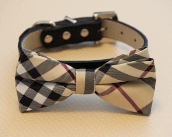 Plaid Burly wood bow tie collar, Chic Dog Bow tie, Wedding Dog Collar, Dog Lovers, pets Gift
