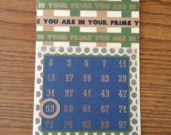 Prime number math birthday card