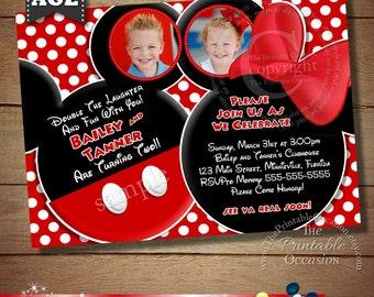 YOU CHOOSE Mickey Mouse Invitation For Twins, Mickey Mouse Minnie Mouse Invitations For Twins, Siblings Invitaiton