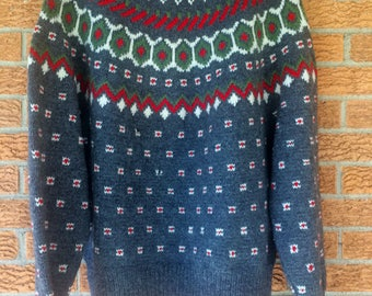 Mens christmas vintage sweater wool large extra large gray 70s