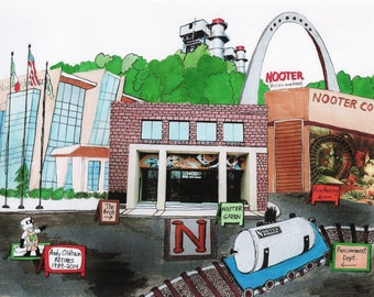 NOOTER ERIKSEN Watercolor Landscape Painting/Collage Prints in Two Sizes - Change signs to personalize it for you St. Louis