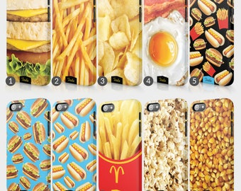 Fast Food Burger Fries Phone Case For Iphone 3D Full Wrap Hard Cover Gift Keptchup Mustard Chips Bacon Popcorn Hot Dog Crisp Pickles Cheese