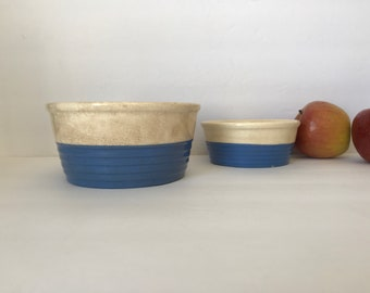 Vintage 1940's Universal Pottery Bowls * Blue and Cream * Ribbed * Brotherhood Operative Potters * Made in the USA * French Country