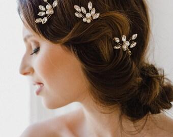 Gold Bridal Hair Pin | Freshwater Pearl and Crystal Wedding Hair Comb | Gold Bridal Hair Pin | Gold Hair Comb | Gold Paisley Hair Pin