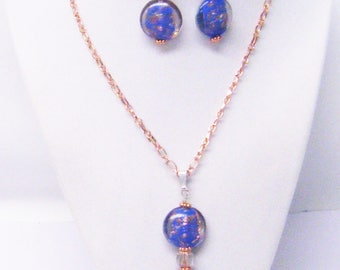 Dark Blue/Clear/Gold Sand Disc Bead Pendant Necklace & Earrings Set