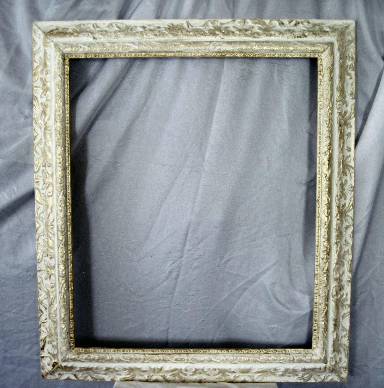 Marco, Vintage, 1940 cuadro marco, blanco y oro marco, marco barroco ...