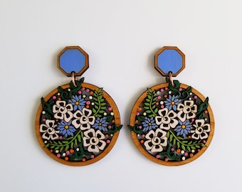 Colorful Statement Earring, Mini Bouquet Statement Earring, wood statement earring, wooden jewelry, sustainable jewelry