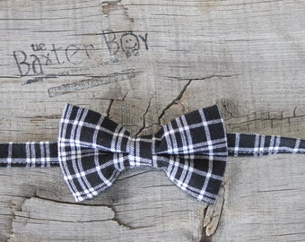 READY TO SHIP ---- Black and White plaid little boy bow tie - photo prop, wedding, ring bearer, accessory