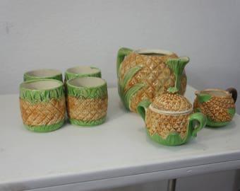 Vintage Japan Pineapple tea set Mugs Pot Creamer Sugar 8 pc Fruit tea set server