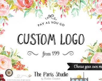 Floral Watercolor Logo Design Boho Logo Custom Logo Design Photography Logo Etsy Shop Logo Business Branding Website Logo Blog Boutique Logo