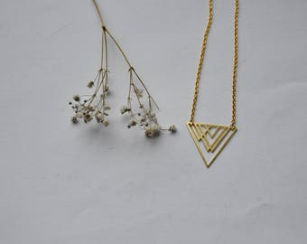 Gold geometric triangle necklace