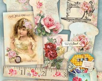 Vintage Sewing Set - digital collage sheet - Printable Download - Instant Download
