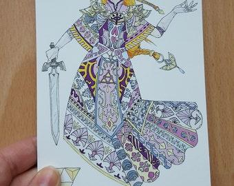 Legend of Zelda - Princess Zelda A6 postcard print