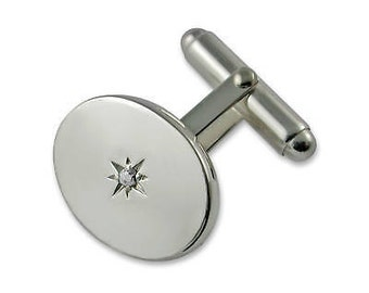 Sterling silver Oval Diamond cufflinks NEW