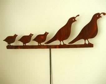 Quail Family (tall), Metal Garden Stake