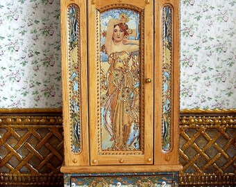 "Wardrobe  ""Art nouveau"". Сupboard. Design Handmade.  For doll House. 1:12 Scale."