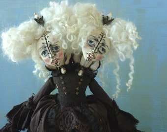 Siamese Twins Queen OOAK Art doll handmade