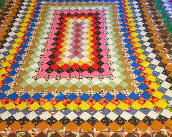 Vintage Feed Sack Around the World quilt top newly quilted
