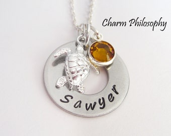 Sea Turtle Name Necklace - Personalized Hand Stamped Name and Birthstone - Sea Turtle Charm Necklace